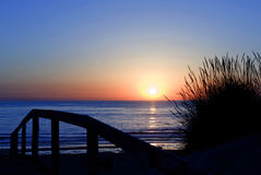 Praia a Dinamarca Tocha Portugal do por do sol Fotografia de Stock Royalty Free