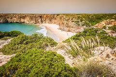 Praia do Beliche - όμορφες ακτή και παραλία του Αλγκάρβε, Portuga Στοκ Φωτογραφία