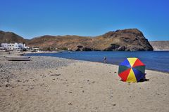 Praia do cabo de gata Nijar Almeria Andalusia Spain de Negras imagens de stock