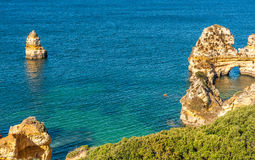 Praia Do Camilo beach in Lagos, Algarve, Portugal. Royalty Free Stock Photography