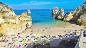 Praia do Camilo beach in Lagos, Algarve region, Portugal stock video footage