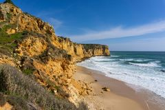 Praia do Canavial near lagos Portugal virgin beach stock photo