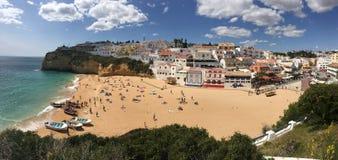 Praia do Carvoeiro πανόραμα Στοκ Εικόνες