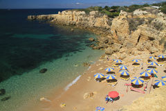 Praia do Castelo. Summer day at Castelo beach, Albufeira, Algarve, Portugal stock photography