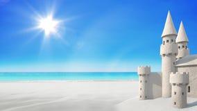 Praia do castelo de areia no céu brilhante rendição 3d Foto de Stock Royalty Free
