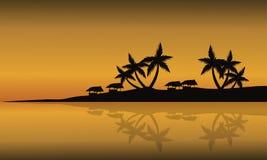 Praia do cenário da silhueta no por do sol Fotos de Stock Royalty Free