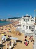 Praia do Concha na baía do Concha San Sebastian, Spain Fotos de Stock