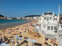 Praia do Concha na baía do Concha San Sebastian, Spain Fotografia de Stock Royalty Free