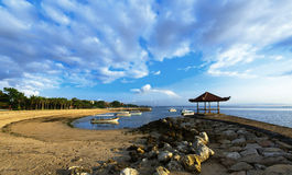 Praia do DUA de Nusa cedo na manhã Fotografia de Stock Royalty Free