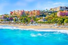 Praia do EL Duque de Costa Adeje Tenerife, Ilhas Canárias, Spain imagem de stock royalty free