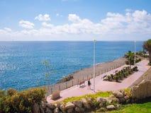 Praia do EL Duque em Costa Adeje Tenerife, Ilhas Canárias, Spain imagens de stock