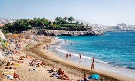 Praia do EL Duque em Tenerife, Ilhas Canárias fotografia de stock