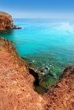 Praia do EL Papagayo Playa de Lanzarote em Canaries Fotografia de Stock