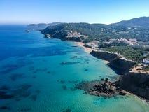 Praia do Es Figueral, Ibiza, Espanha fotos de stock royalty free