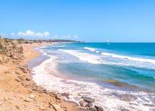 Praia do lado, província de Antalya, Turquia Imagem de Stock