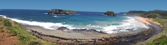 Praia do Leo. A panoramic view of Praia do Leao in Fernando de Noronha, Brazil royalty free stock image
