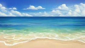 Praia do mar Areia e onda Fundo do vetor ilustração stock
