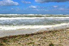 Praia do mar Báltico no clima de tempestade com ondas do mar Imagem de Stock Royalty Free