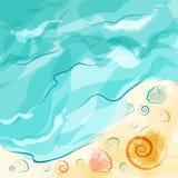 Praia do mar com escudos para o projeto do verão Fotografia de Stock