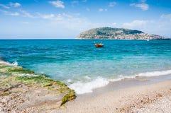 Praia do mar em Alanya, Turquia Foto de Stock