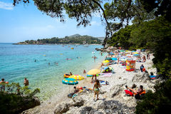 Praia do mar em Mlini Fotografia de Stock