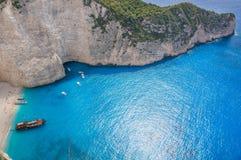 Praia do naufrágio de Navagio - uma da praia a mais famosa no wo Imagem de Stock Royalty Free