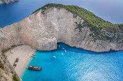 Praia do naufrágio de Navagio - uma da praia a mais famosa no wo Imagens de Stock Royalty Free