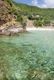 Praia do paraíso, console de Thassos fotografia de stock royalty free