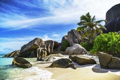Praia do paraíso no ` da fonte d do anse argento nos seychelles 116 Imagens de Stock Royalty Free