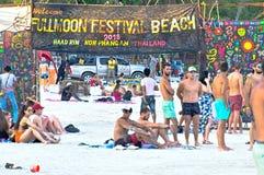 Praia do partido da Lua cheia na ilha do pha-nang fotos de stock royalty free
