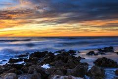 Praia do por do sol de Florida foto de stock