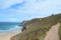 Praia do porth da capela, St agnes, Cornualha Imagem de Stock