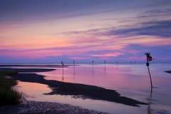 Praia do porto da rocha no por do sol Imagem de Stock Royalty Free