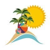 praia do símbolo com ícone do parasol ilustração royalty free