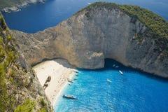 Praia do Shipwreck (Navagio) Imagem de Stock Royalty Free