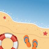 Praia do verão com Flip Flops & o boia salva-vidas ilustração do vetor