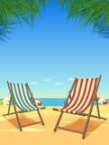 Praia do verão e fundo das cadeiras Foto de Stock Royalty Free