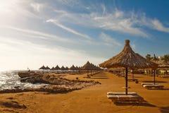 Praia do verão sob o sol da manhã Imagem de Stock Royalty Free