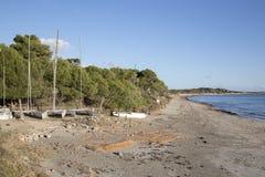 Praia dos Salinas em Ibiza fotografia de stock