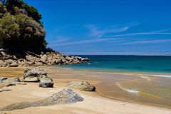 Praia dourada Abel tasman Imagens de Stock