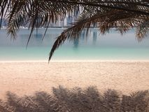 Praia e arranha-céus de Abu Dhabi Imagens de Stock