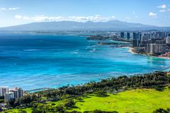 Praia e Honolulu de Waikiki imagem de stock royalty free