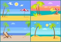 Praia e ilustração do vetor da coleção dos Seascapes ilustração royalty free