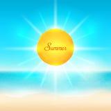 Praia e mar tropical com sol brilhante ilustração royalty free