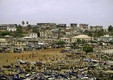 Praia e mercado em Ghana Imagem de Stock Royalty Free