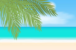 Praia e paisagem tropical do mar Ilustração do vetor Fotos de Stock