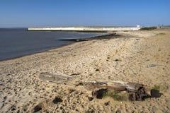Praia e parede de mar no Canvey Island, Essex, Inglaterra Fotografia de Stock