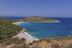 Praia e penisula, ilha Grécia de Chios Imagem de Stock Royalty Free
