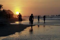 Praia e por do sol de Mancora Imagem de Stock Royalty Free