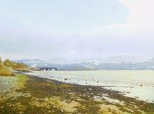 Praia e viaduto de Barmouth fotos de stock royalty free